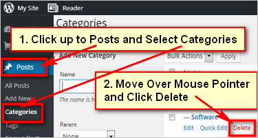 How to remove categories in WordPress